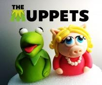 "wedding photo - Kermit & Piggi by Muppets Fondant Cake Topper. Ready to ship in 3-5 business days. ""We do custom orders"""