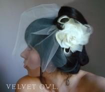 wedding photo - Bridal cream Ivory hair clip or comb flower feather fascinator and detachable unique birdcage veil fine tulle scalloped cut edge - GISELLE