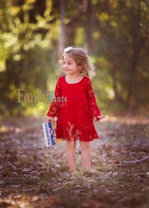 wedding photo - Red Lace Dress- Long sleeve Red Dress,  Boho Style , Lace flower girl dresses- baby lace dress - Long sleeve lace dress- Toddler Dress