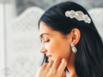 wedding photo - Wedding Rhinestone Comb, White Bridal Hair Comb, Wedding Headpiece, Beaded Wedding Comb, Vintage Hair Comb, Crystal Comb, Wedding Accessory