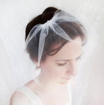 wedding photo - small tulle birdcage veil, mini bridal veil, simple tulle wedge veil - PETAL VEIL - short bridal veil, hair accessories