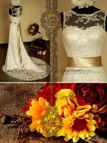 wedding photo - Timeless Beauty Vintage Inspired Lace Wedding Dress Features Illusion Neckline with Sweetheart Underlay and Full Back Lace Design