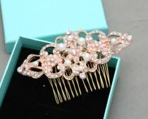 wedding photo - Yellow Gold,Rose Gold Hair Comb, Silver Hair Comb, Pearl Headpiece, Bridal Headpiece,Rhombus Comb, Vintage Comb,Vintage Brooch Pin