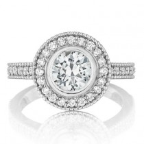 wedding photo - 1 carat Forever One Round Bezel Moissanite Diamond Halo Vintage Milgrain Engagement Rings, WeddingBee, TheKnot, Wedding Sets, Bridal Jewelry