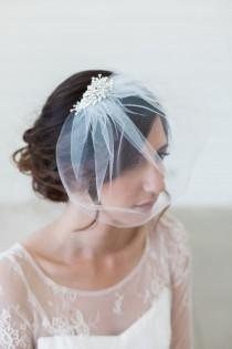 wedding photo - Ivory Birdcage Veil, Crystal comb cage Veil, Wedding Veil, Rhinestone Comb, Blusher Veil, Tulle Veil, Bridal Veil - Quick shipper - SYLVIA