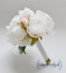 wedding photo - Small White Peony Bouquet - Peony Bouquet in Cream, White, Peonies, Silk Bouquet, Wedding Bouquet, Bridesmaid Bouquet