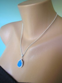 wedding photo - Crystal Bridal Pendant Teardrop Pendant Turquoise Rhinestone Crystal Bridal Set Wedding Jewelry Bridesmaid Gift Sterling Silver Necklace