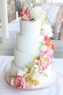 wedding photo - Peony Wedding Cake