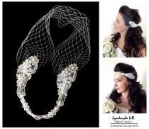 wedding photo - Wedding Bridal Bandeau Birdcage Veil. Lace Swarovski Crystals Pearls. Headband Headpiece Hair piece Accessory French Russian Veiling White