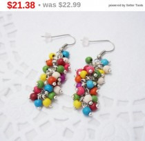 wedding photo - SALE Colored bunch chandelier gemstone funky cluster earrings turquoise natural stone mixed colors summer beaded earrings jewelry gift fo...