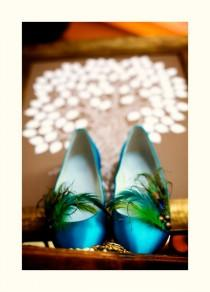 wedding photo - Wedding Shoe Clips Peacock. Turquoise Lime Green Rooster Feather. Spring Girls Night Out. Metallic Bronze Teal Purple. Bridesmaid Bride Clip