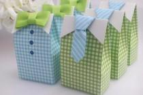 wedding photo - 20 Pcs Blue Green Bow Tie Wedding Favors Candy Box Gift Bags