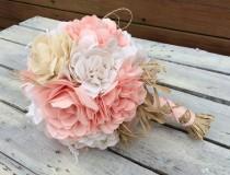 wedding photo - Peach Bridal Bouquet, Wedding Bouquet, Peach Fabric Bouquet, Wedding, Peach, Bride, Rustic Wedding, Country Wedding, Bouquet Wrap, Favor