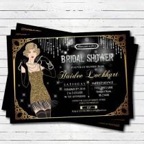 wedding photo - Bridal Shower Invitation. Great Gatsby Flapper Black And Gold Glitter. Bachelorette Party. Printable Invitation. Printable Invite. BP003