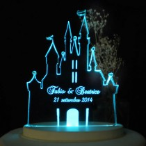 wedding photo - Fairytale Castle II Wedding Cake Topper  - Engraved & Personalized