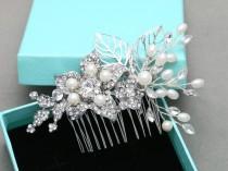 wedding photo - Pearl Comb,Wedding Hair Comb,Bridal Hair Comb,Crystal Hair Comb,Rhinestone Hair Comb,Floral Hair Comb,Leaf Hair Comb,Bride Vintage Hair