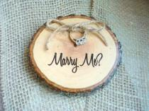 wedding photo - Engagement Ring Holder, Marry Me, Marry Me Rustic Wood Slice, Rustic Wedding Decor, Ring Box, Wedding Ring Holder, Proposal Ring Holder