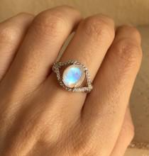 wedding photo - Statement Moonstone Ring- Promise Ring- Engagement Ring- Solitaire Ring- Rainbow Moonstone Ring- Sterling Silver Ring- June Birthstone Ring