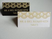 """wedding photo - Escort Cards / """"Deco Scallops"""" Seating Placecards / Black or White with Gold or Silver Shimmer / White with Navy Matte / 2"""" x 4"""" Folded Tent"""