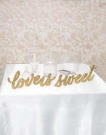 """wedding photo - FREESTANDING """"Love Is Sweet"""" Sign Set - Wedding Sign for Candy, Dessert, or Wedding Table Decor - Wooden Signs for Wedding (Item - LIS200)"""