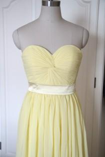 wedding photo - Golden Bridesmaid Dress Short/Floor-length Sweetheart Chiffon Bridesmaid Dress - Custom Dress