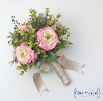 wedding photo - Eucalyptus and Ranunculus Wedding Bouquet, Silk Bouquet, Eucalyptus, Succulent Bouquet, Modern Bouquet, Greenery Bouquet, Floral Arrangement