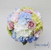 wedding photo - Hydrangea Bouquet - Garden Style Bouquet, Bridal Bouquet, Blue, Green, Purple, Lavender, Cream, Blue Bouquet, Silk Wedding Bouquet