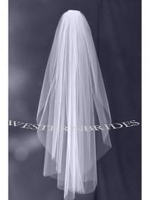 wedding photo - Elbow Fingertip Cathedral choice wedding bridal veil on silver comb ready to wear. Cut plain raw edge  White , off white or ivory