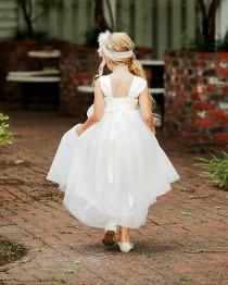 wedding photo - Flower Girl Dress Cap Sleeves Tulle Ball Gown Ankle Length with Big Bow Back, Fliower Girl Dresses Ribbon Sash