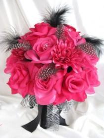 "wedding photo - Wedding bouquet Bridal Silk flowers Hot Pink FUCHSIA BLACK Feathers 17 pc package decoration Centerpiece arrangements ""RosesandDreams"""