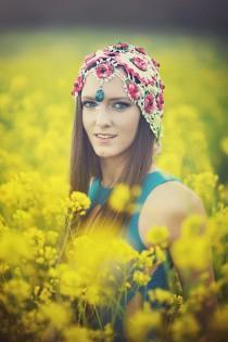 wedding photo - Fascinator Hat Boho Headdress Vintage Lace Wedding Festival Veil Cap Hair Accessory