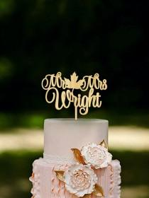 wedding photo - Fall Wedding Cake Topper Fall in Love Cake Topper Last Name Wooden Mr and Mrs Cake Topper Fall Wedding Autumn Wedding