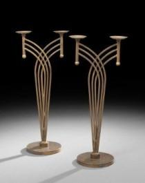 wedding photo - Pair Of Art Deco-Style Double Candle Holders : Lot 833