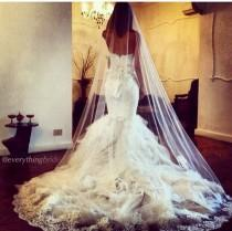 wedding photo - 2014 Best White Long Cathedral Bridal Wedding Dress Veil Lace Purfle Free Comb