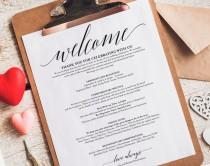 wedding photo - Wedding Itinerary, Welcome Bag, Printable Itinerary, Welcome Letter, Wedding Favor, Wedding Printable, PDF Instant Download