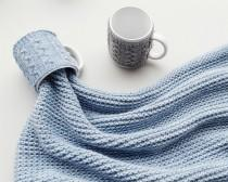 wedding photo - Knit Tea Cup Cozy, Coffee Mug Cozy, Knit Cup Sweater, Reusable Coffee Sleeve Hand Protector, Drink Grip, Pastel Blue, FREE SHIPPING