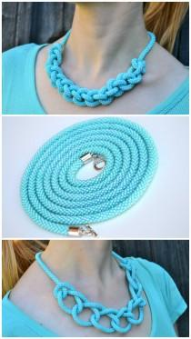 wedding photo - Turquoise mint long beaded crochet rope lariat necklace. Spiral rope chocker beadwork statement necklacework statement necklace
