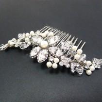 wedding photo - Wedding headpiece, Bridal hair comb, Hair vine, Gold hair comb, Wedding hair comb, Rhinestone and pearl hair comb, Vintage style headpiece