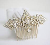 wedding photo - Gold Bridal Hair Comb  Filigree Wedding Head Piece, Vintage Pearl Veil Comb, Wedding Hair Accessories, MARCELLA COMB