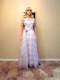 wedding photo - Vintage 1970s does 1950s Evening Gown. Satin Chiffon Retro Strapless Sweetheart Dress. Pastel Tie Dye Ombre. 70s White Pink Purple Prom. S M