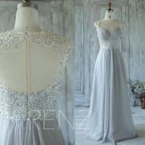 wedding photo - 2016 Light Gray Bridesmaid Dress with Beading, Sweetheart Wedding Dress, Cap Sleeves Prom Dress, Formal Dress Long Floor Length (X001)