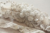 wedding photo - Wedding Garter Set in Ivory  - Paris Romance Ivory (Made to Order)