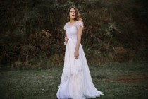 wedding photo - Lowback Romantic Bohemian Wedding Dress With Illusion Sweetheart Neckline, Chiffon Skirt, And Damask Eyelash Lace Cap Sleeves - Erin Dress