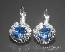 wedding photo - Light Blue Halo Crystal Earrings Swarovski Light Sapphire Rhinestone Sparkly Earrings Hypoallergenic Leverback Wedding Jewelry Bridesmaids