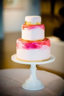 wedding photo - Modern, Watercolor Brushstroke Wedding Cake
