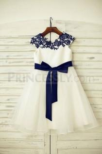 wedding photo - Navy Blue Lace Ivory Satin Organza Flower Girl Dress With Navy Sash