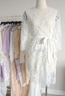 wedding photo - White Lace Bridal Robe Kimono, White Eyelash Lace Robe for Wedding Gift, Bridal Lingerie