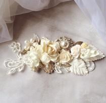 wedding photo - Lace Hair Comb, Hair Comb, Bridal Vintage Comb, Wedding Lace haircomb, Bridal Flower Comb, Bridal Hair, Lace Hair Comb, Ivory Bridal Comb