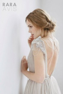 wedding photo - Wedding Dress IVANEL, Bridal Dress, Beach Wedding Dress, Grey With Powder Pink, Ivory