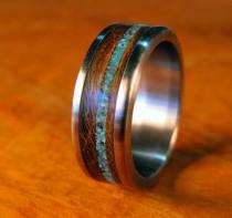 wedding photo - Titanium Ring, Wedding Ring, Stone Ring, Wood Ring, Turquoise Ring, Custom Made Ring, Mens Ring, Womens Ring, Handmade Ring, Unique Ring